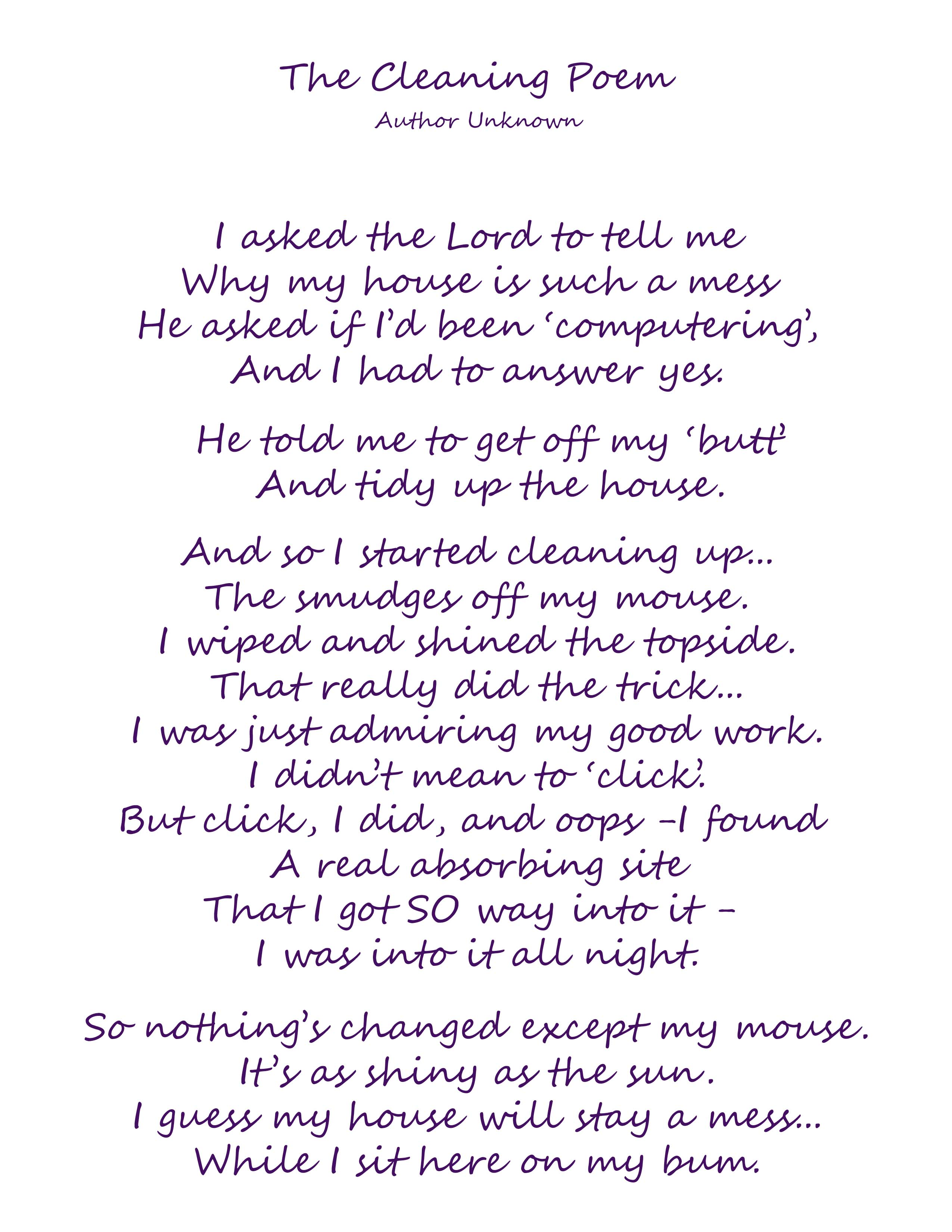 The Cleaning Poem